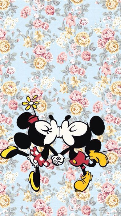 Adorable floral Mickey Mouse Minnie Mouse background
