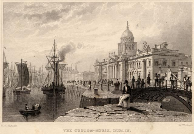 Custom House Harbour. Engraving from 'Dublin Delineated in twenty-six views' (1831)