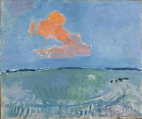 Piet Mondriaan (1872-1944) De rode wolk, 1907 Olieverf op karton 64 x 75 cm Gemeentemuseum Den Haag #KleurOntketend