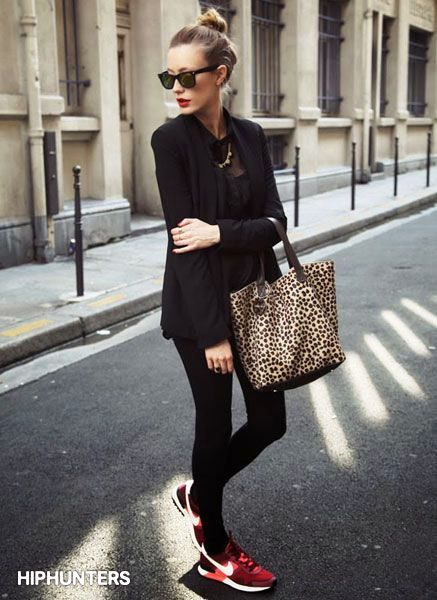 All black with camper shoes and snow leopard bag