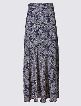 Paisley Print A-Line Maxi Skirt