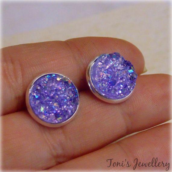 Dark Purple Faux Druzy Earrings  Resin Rhinestone Cabochons