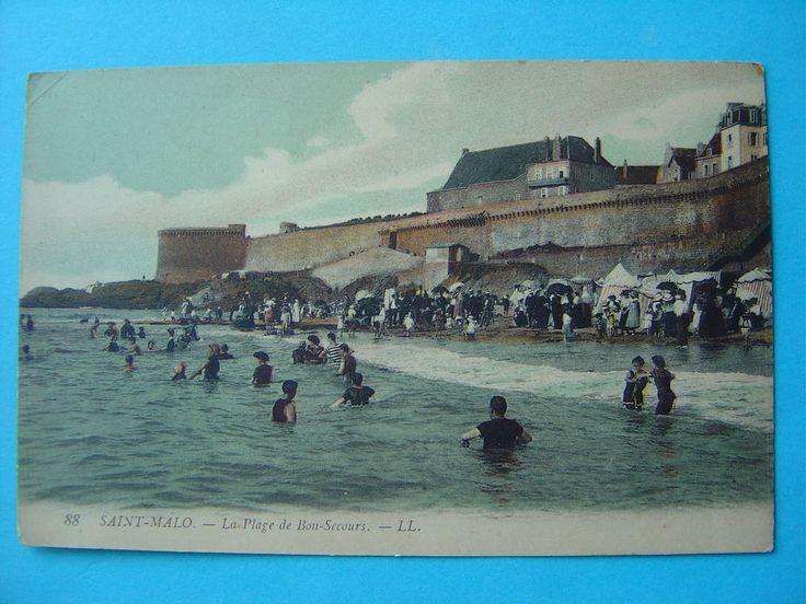 """ST MALO -- Baignade Plage de Bon-Secours - Beaux maillots de bain """"1900"""""""