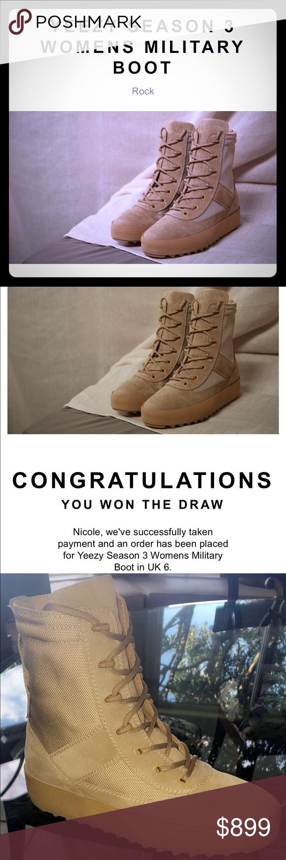 YEEZY SEASON 3 women's military boot For sale is an authentic pair of Yeezy Season 3 military boot. Women's UK size 6 which is US women's size 8.5/9. They come with receipt and original packaging. New in box never worn! Yeezy Shoes Combat & Moto Boots