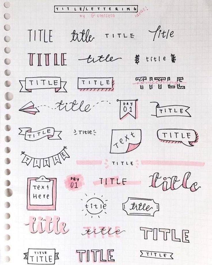 "21 Likes, 1 Comments - @bulletjournalistbr on Instagram: ""• header ideas #idea #bujo #bulletjournal #title #bujotitle #inspire #inspiration #pink #sheet…"""