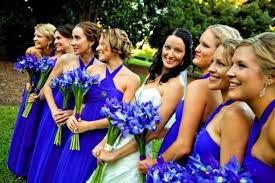 blue iris bouquet -here is why I said not all blue against blue dresses, adding yellow would make them stand out better.