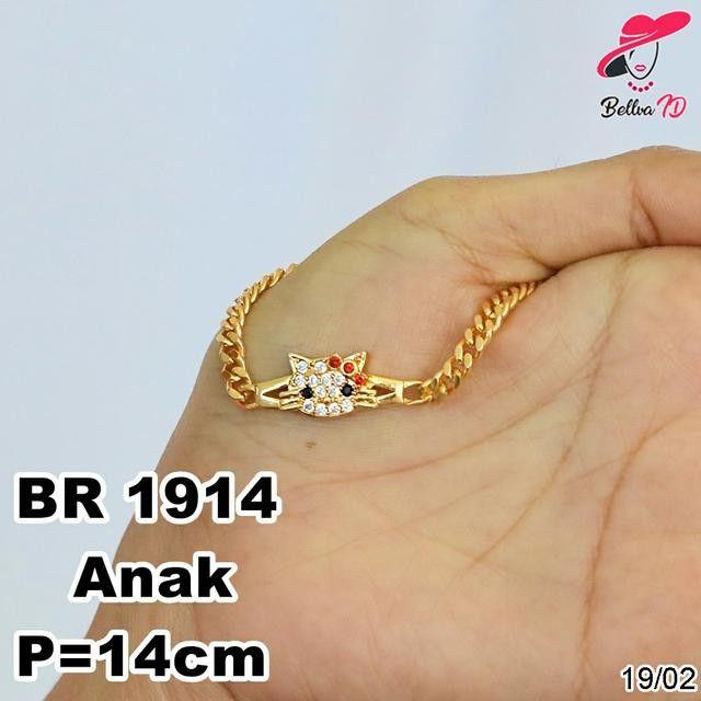 Gelang Tangan Wanita Hello Kitty Gold Permata R 1914 Shopee Indonesia Gelang Cincin Emas