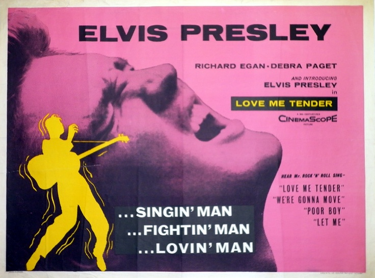 "Long live the King!  1956 British quad poster for ""Love Me Tender"" from the great Tom Chantrell."
