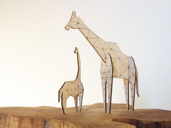 Origami giraffa - laser taglio legno - giocattolo arredamento