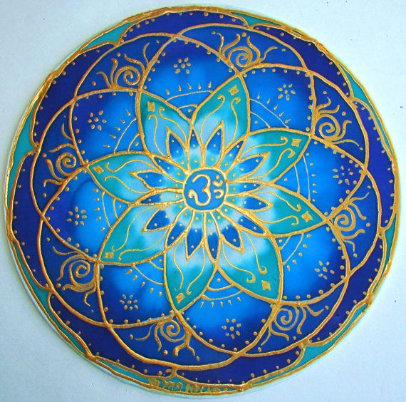 mandala art Throat Chakra chakra art blue by HeavenOnEarthSilks