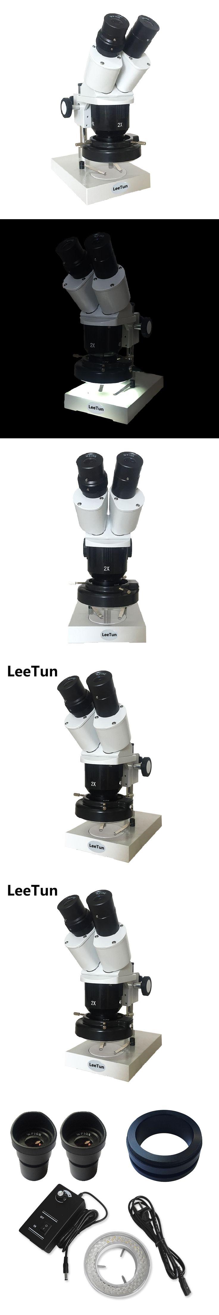 20x-40x Illuminated Binocular Stereo Microscope with External LED Ring Light WF10X Eyepiece 2X 4X Objective
