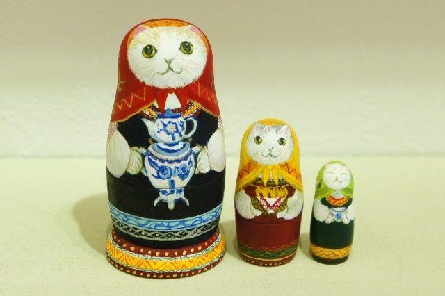 さとう あい作 ロシア民族衣装ネコマトリョーシカ <サモワール>3ピース /7cm