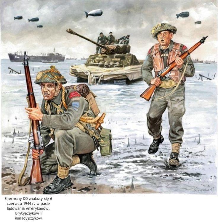 Royal Canadian Army - Uomini della 3th Infantry Division allassalto di Juno Beach il 6 giugno 1944. Alle Loro spalle un carro Sherman DD Anfibio.