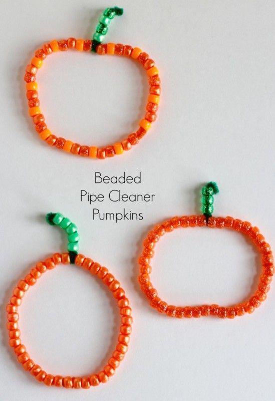 Festive Beaded Pipe Cleaner Pumpkins