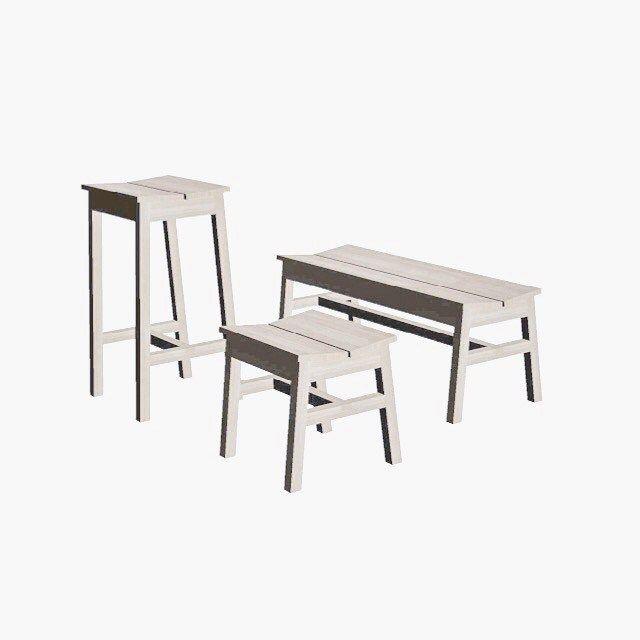 Möbel / Kantig En Elegant Sittmöbel I All Sin Enkelhet. Inspirerad Av  Badpallar Från Japan