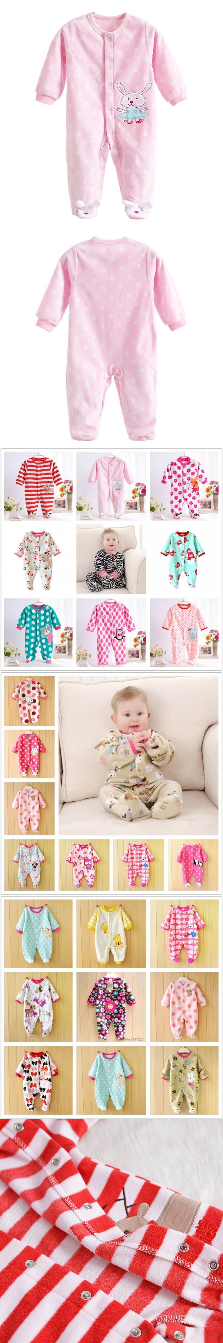 Spring Fleece Baby Rompers Cute Pink Infant Baby Girls Jumpsuits Footed Coverall Newborn Baby Girls Clothing V20