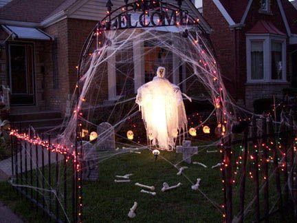 ghost lighting halloween outdoor decorating ideas home trends design photos home design picture at home design and home interior - Halloween Lighting Ideas
