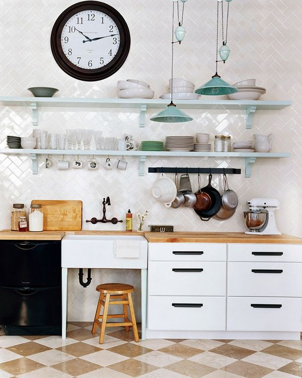 Herringbone Backsplash...love!Butcher Block, Kitchens Interiors, Herringbone Subway Tile, Kitchens Design, Open Shelves, Domino, Floors, Design Kitchens, Subway Tiles