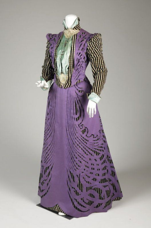 c.1896 (late 1890s) Pingat Afternoon dress, Cotton Velvet, Fulled Wool, Panné Velvet, Netting, Embroidered Muslin