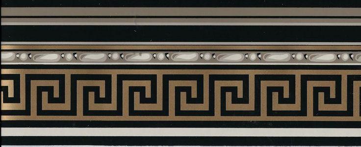Victorian Architectural Gold Greek Key on Black WALLPAPER ...
