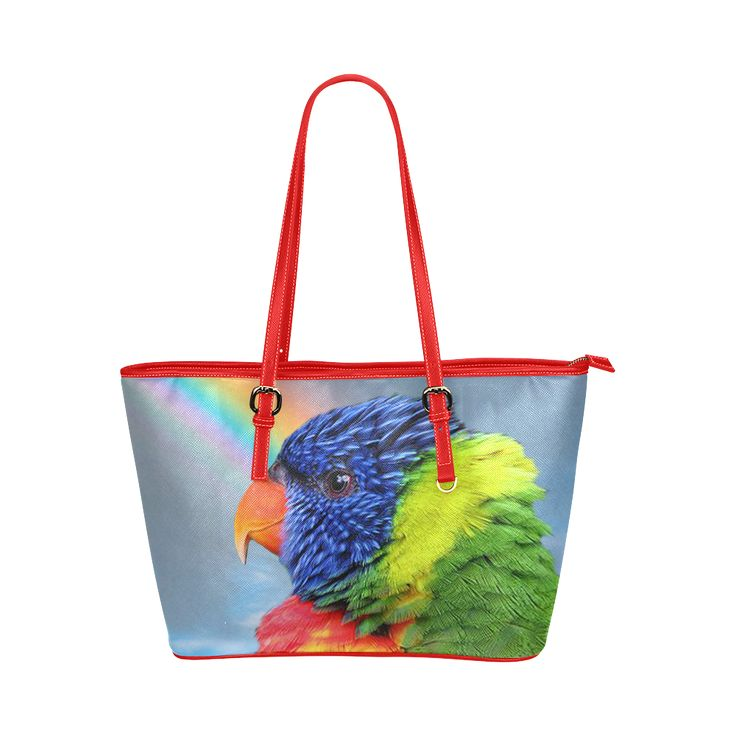 Rainbow Lorikeet Leather Tote Bag/Large. FREE Shipping. #artsadd #bags #parrots