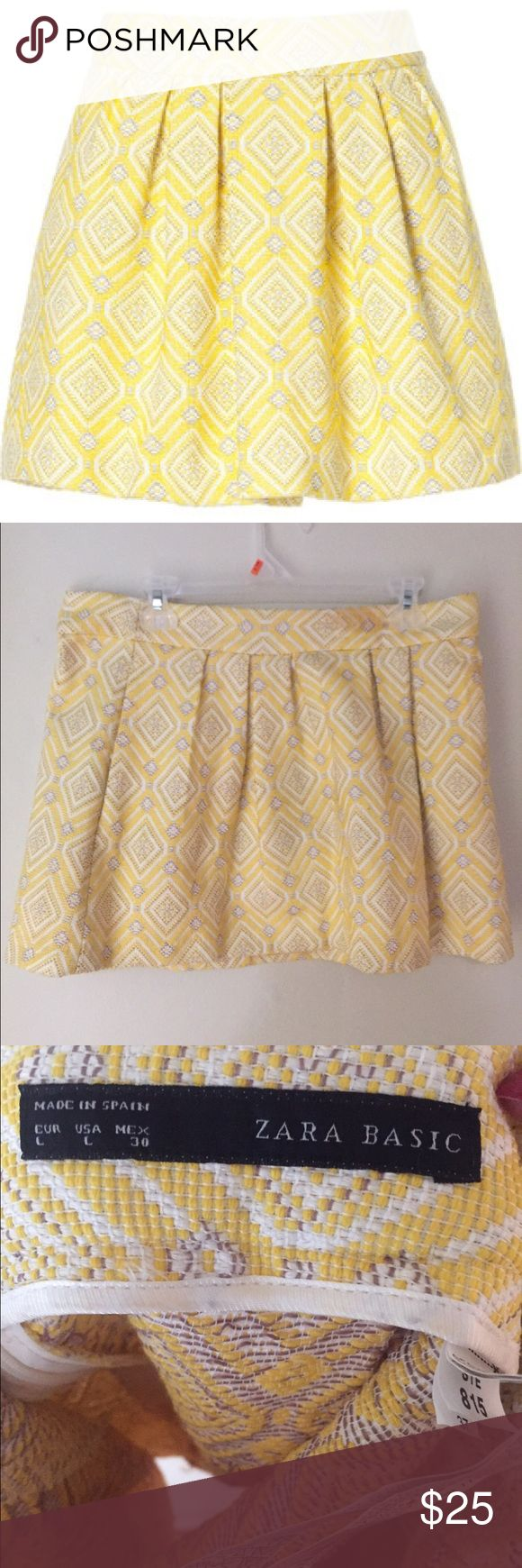Zara pleated Jacquard skirt NWOT! Never worn Zara skirt. Falls to right above knee length. Beautifully woven skirt, with amazing detail! Size Large. Zara Skirts