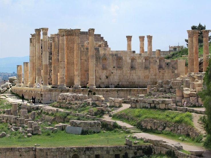 The wealth of ancient Gerasa is evident in the massive Sanctuary of Zeus (162 AD) overlooking the southern half of the archaeological area at Jerash, Jordan.