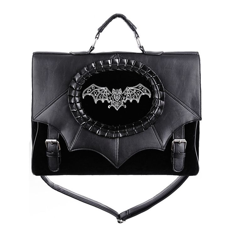 Restyle Magic Bat akte schouder/handtas met cameo zwart - Gothic metal