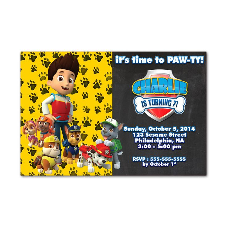Paw Pawty Patrol Chalkboard No Photo Kids Birthday Invitation Party Design