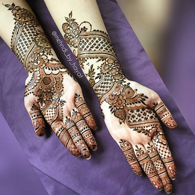 """Complete hands of Asma's bridal henna!  Beware of jealousy, for verily it destroys good deeds the way fire destroys wood."""" (Abu Dawood)  For Bookings Email : Nashwahhayat@gmail.com  Have blessed Friday everyone ❤ #mehndi_by_hayat #alhumdulillah"""