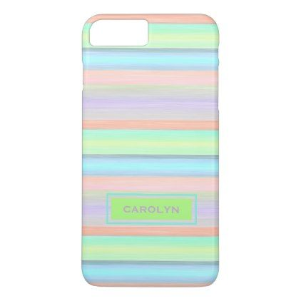 Custom Coral Pink Lime Green Turquoise Stripes iPhone 8 Plus/7 Plus Case - #chic gifts diy elegant gift ideas personalize