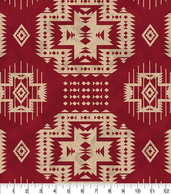 "Anti-Pill Fleece Fabric 58""-Red Aztec"