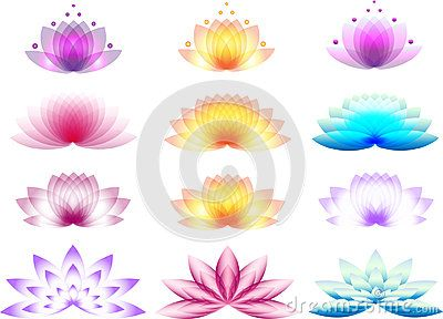 A set of lotus and water lily logos.