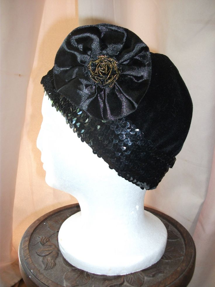 Sequin trimmed 'flapper' hat.