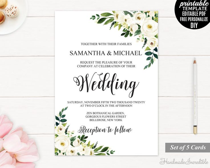 246 best wedding invitations images on pinterest wedding set white flower wedding invitation wedding invitation set template printable floral wedding invitation greenery stopboris Images