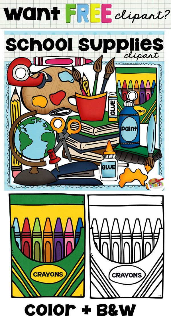 FREE School Supplies Clip Art set! High quality color and black and white PNG images. For personal and educational use.