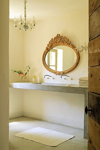 Simple Belgian powder room. Love the mix of sleek modern and opulent ...