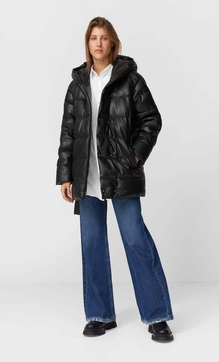 Faux Leather Puffer Coat In Stradivarius For Only 1119 Egp Available For A Limited Time Coats For Women Always On Trend C Puffer Coat Clothes Coats For Women [ 1207 x 730 Pixel ]