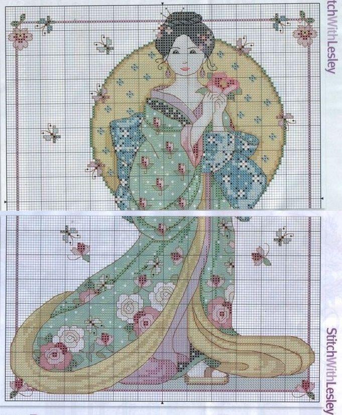 0 point de croix femme asiatique et papillons - cross stitch asian lady and butterflies