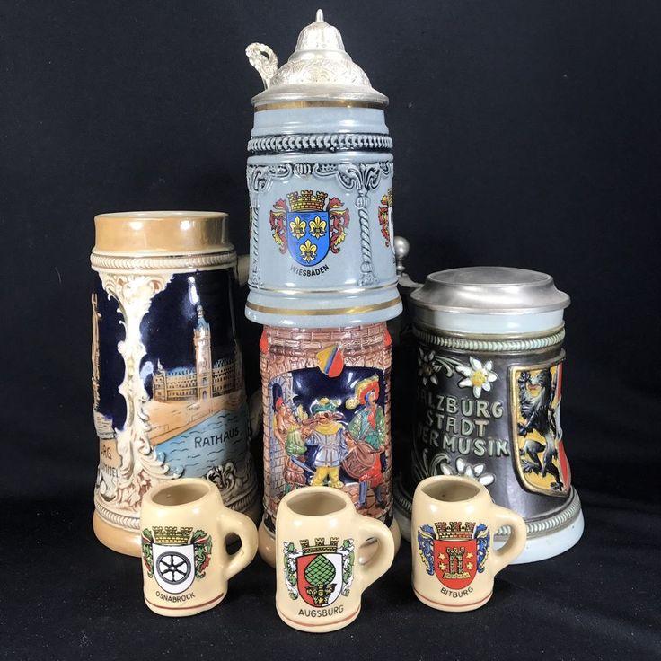 German Beer Stein Lot of 7 - Lidded - Gerz King Original Gerzit Marzi Remy Vtg    eBay