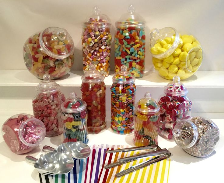 JUMBO Plastic Sweet Jars 12 jars 100 bags 2 Scoops 2 tongs DIY Buffet Storage #TrulySweetCandy