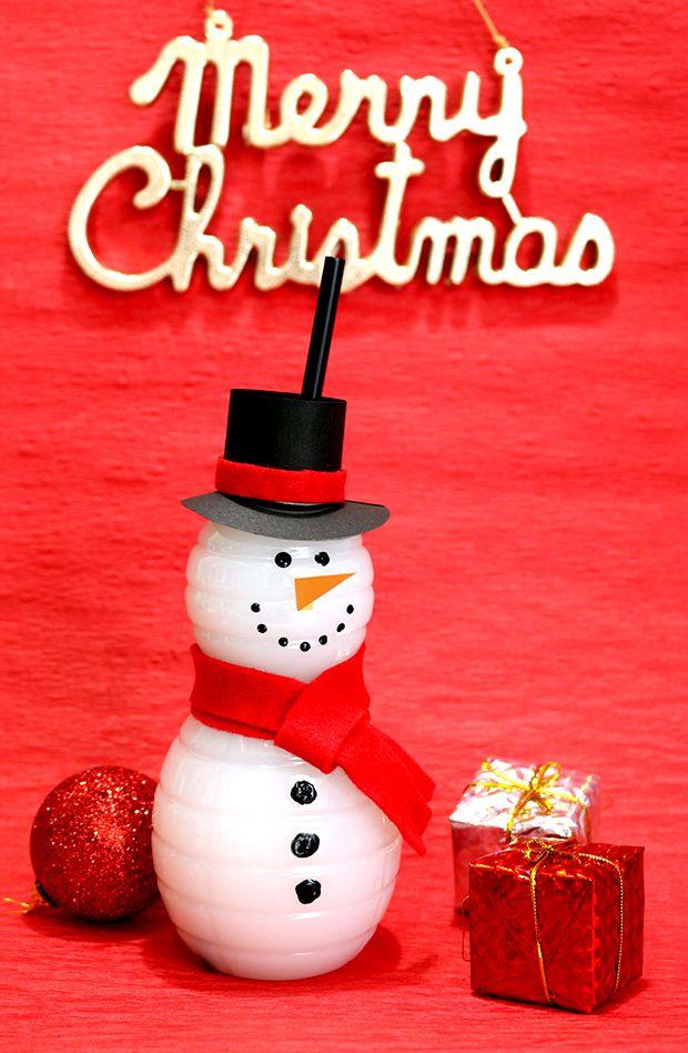 可愛いスノーマンボトルの作り方 クリスマスパーティー演出 DIY