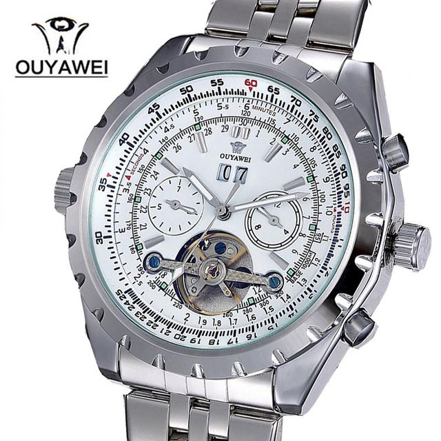 Brand OUYAWEI Mens Luxury  Mechanical Wrist Watches with Stainless Steel Business Mens Watches Relogio Masculino
