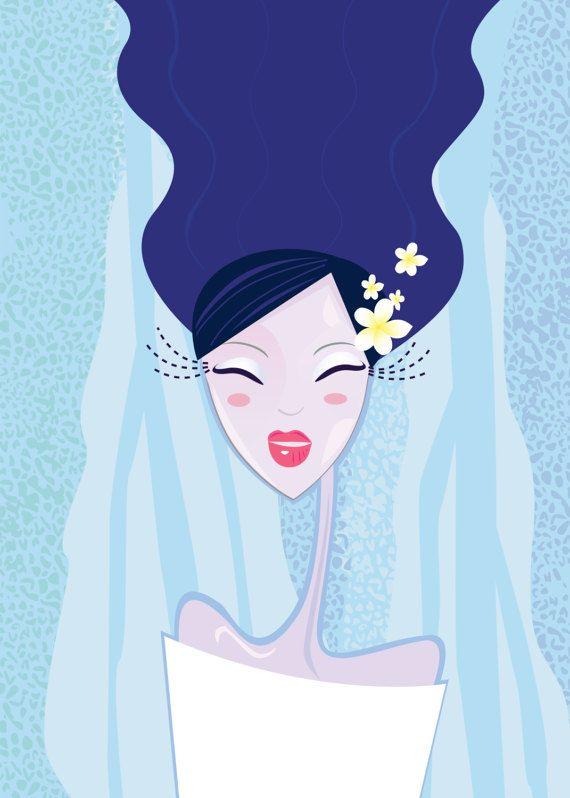 Asia Original woman hand-drawing / Deep by RosemaryWellnessShop