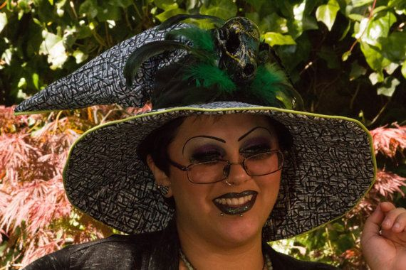 Black and White Witch or Wizard Hat with Lime Green Piping, Green Feathers, and Hand Painted Raccoon Skull