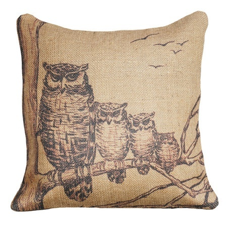 Owl Family Pillow--natural colors