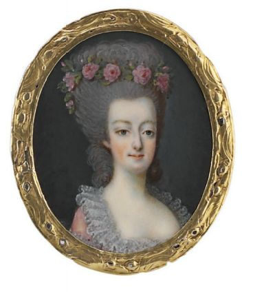 Queen Marie-Antoinette of France (1755-1793), in pink robe à l'anglaise with gathered French lace collar, a garland of pink roses adorning her powdered coiffure.