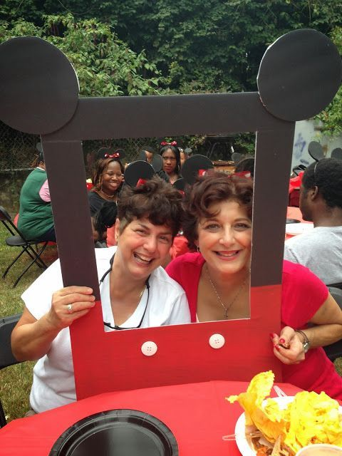 Great ideas for a Mickey Mouse Party - including this cute idea of capturing pictures of your guests!