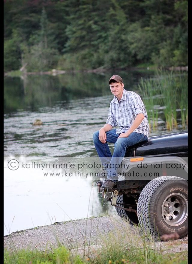 Lake and vehicle senior picture