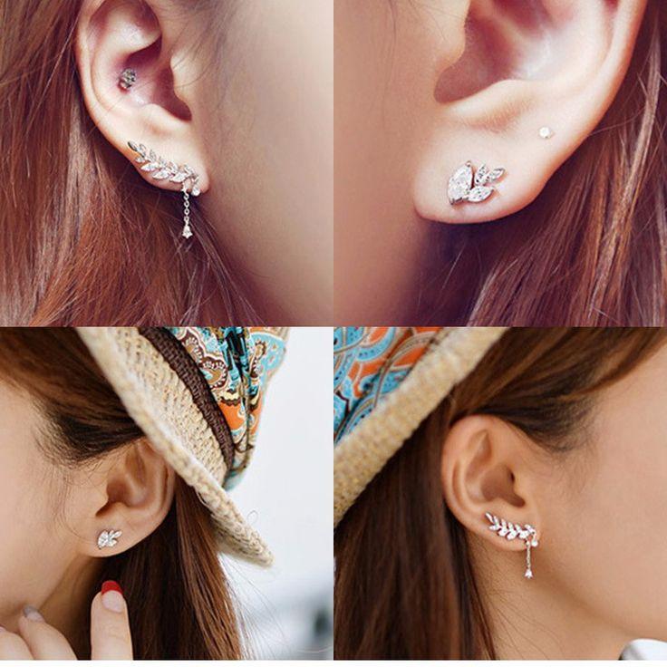 2 unids/set hoja elegante cristalino del oído pendientes de Clip pendientes Rhinestone oro / plata Ear Cuff mujeres pendientes de la joyería Er827 en Pendientes de Clip de Joyas y Accesorios en AliExpress.com | Alibaba Group